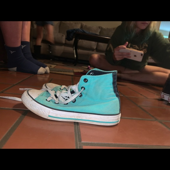 Converse Shoes   Teal Blue High Tops